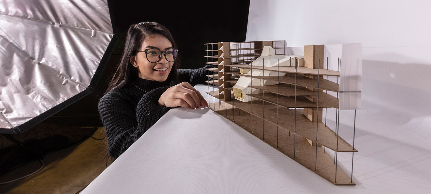 girl with architecture model